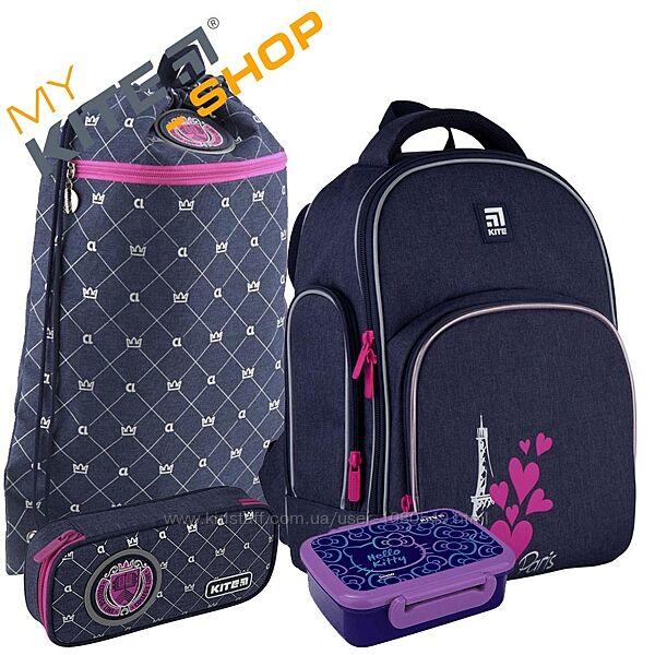 Школьный комплект 4в1  КАЙТ KITE Рюкзак сумка пенал для девочки с ЛЕД