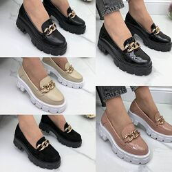 Женские туфли - лоферы на тракторной подошве с цепью натуральная кожа/замша