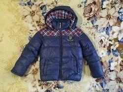 Теплая зимняя куртка на 5-6 лет с меховой жилеткой