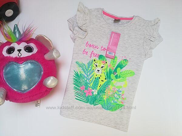 Нарядна сіра бавовняна футболка для дівчинки фірми Pepco 6-7 років.