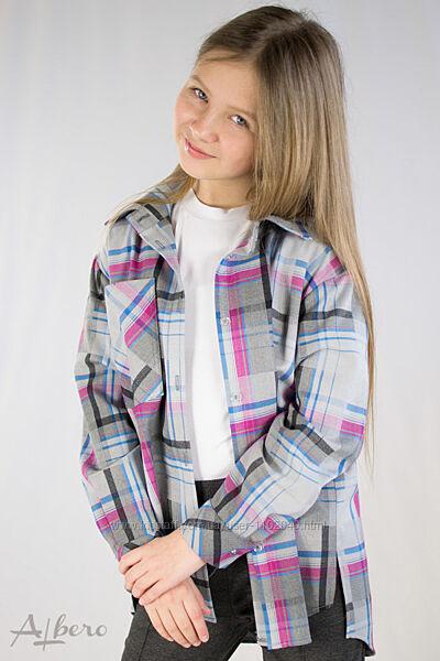 Рубашка клетчатая для девочек тм Albero Размеры 128- 158