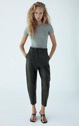 Ультра модные женские кожаные брюки багги zara высокая посадка оригинал нов