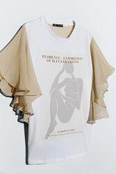 Стильная футболка топ воланы и спинка шифон размер s zara оригинал