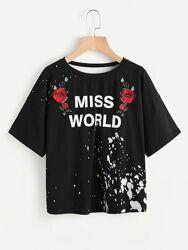 Черная новая футболка с интересным принтом размер Черная новая футболка с и