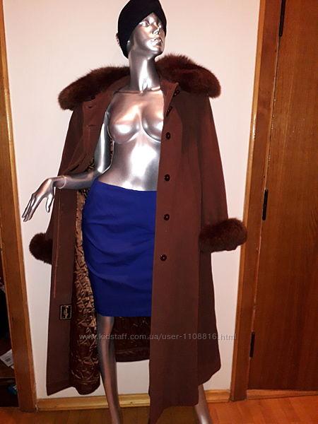 Пальто женское кашемир  натуральный мех
