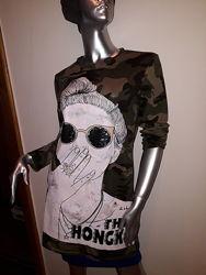 Туника женская стильная молодежная с принтом милитари и рисунком