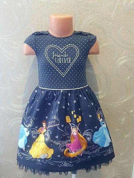 Платье с рисунком, дисней принцессы,5-6
