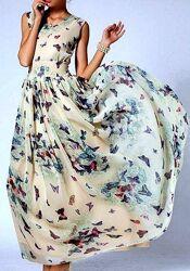 Новое воздушное бежевое платье из шифона в милых бабочках fll
