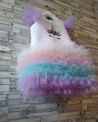 Детское платье  Единорог, и другие  для праздника , новые, большой выбор