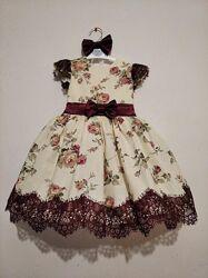 Платья разные цветочные для девочек нарядные для праздника на любой рост