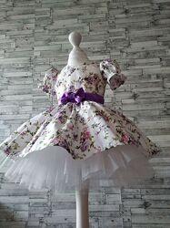 Красивое цветочное  нарядное платье  для девочки на любой рост
