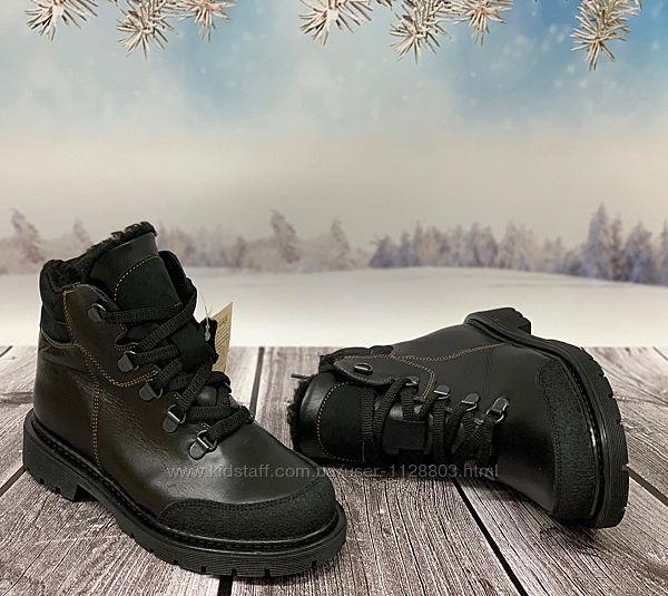 Берегиня зимние ботинки черные кожа мод. 2128 р. 32-39