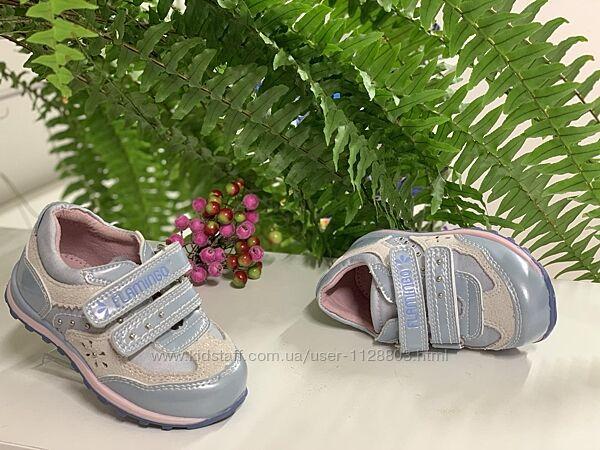 Кроссовки для девочки кожаные Flamingo р. 22 14 см,  мод.0642