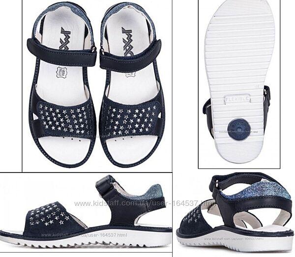 Сандалии босоножки кожаные IMAC для девочки синие с серебром 37р