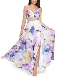 Шикарное новое длинное яркое платье, с украшением на талии XSCAPE 4 S