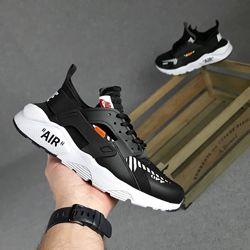 Кроссовки Nike Huarache Off white, черные, 10406
