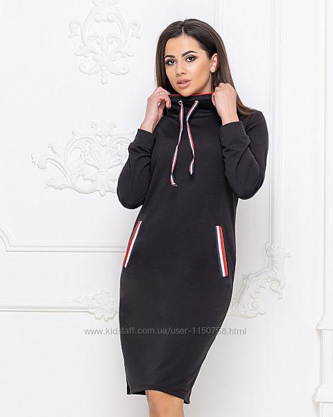 Черное платье спортивное худи повседневное размер 54-56