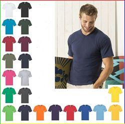 Мужские футболки с v вырезом, плотность 145 г/м2.