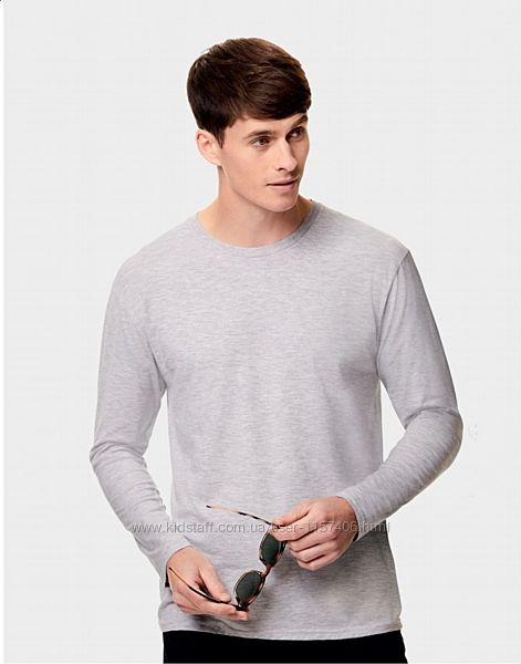 Мужская футболка с длинным рукавом, мягкий хлопок.