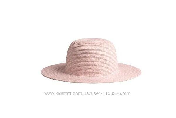 Шляпа h&m из бумажной соломки с металлизированной нитью розовая р. 158/170