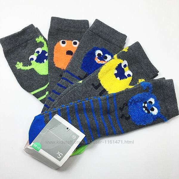 Набор 5 пар носки детские комплект для мальчика р.24/26 бренд C&A