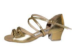 Танцевальные туфли, полностью кожа, золотистые