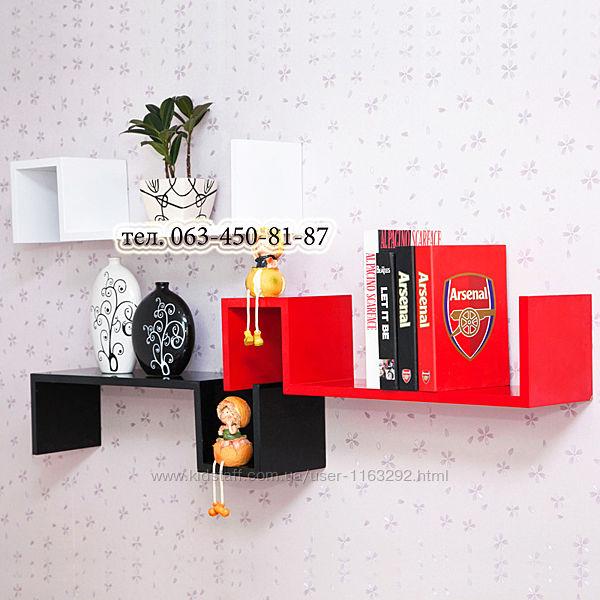 Книжная полка, полка навесная настенная для книг, вазонов, полка для книг