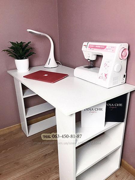 Стол письменный с полками, белый стол, стол офисный для ноутбука, стол