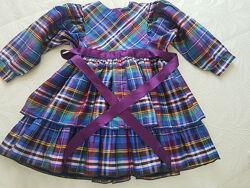 Шелковое платье рюши клеточка полоска Laura Biagiotti Monnalisa 2 3 4 года