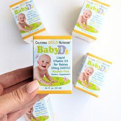 Baby d3, Д3 дитячий вітамін в краплях iherb, витамин Д3 для детей