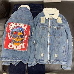 Куртка джинсовая Scull Dust на меху большие размеры