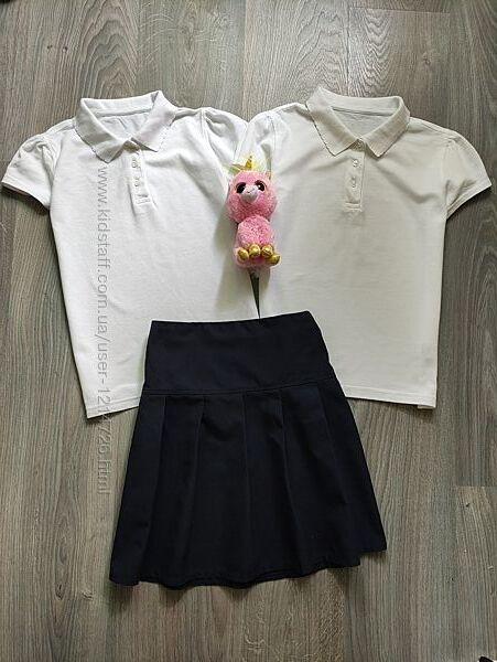 Школьная футболка поло юбка спідниця в складку