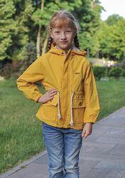 Ветровка, парка midimod желтая с завязками на талии
