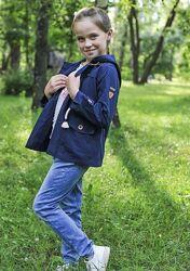 Ветровка куртка плащик midimod синяя с завязками на талии