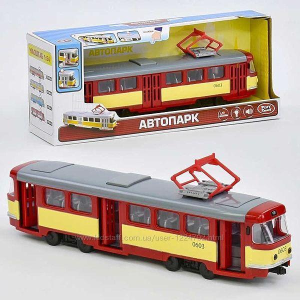 Трамвай Play Smart. Городской транспорт. Детский трамвай. Игрушечный трамва