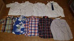 Рубашки белые короткий рукав 5-9 лет и длинный рукав H&M клетка