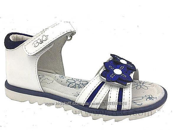 Бело-синие нарядные кожаные босоножки B&G