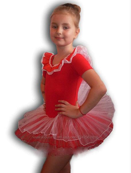 Купальник - пачка для гимнастики и танцев. Красный. Rivage Line