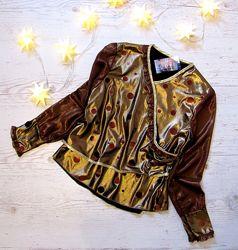 р. 122-146 Распродажа Детская блузка золотистая, Новогодний стиль