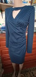 Stets красивое платье миди футляр в горошек с чокером декольте 44-46р