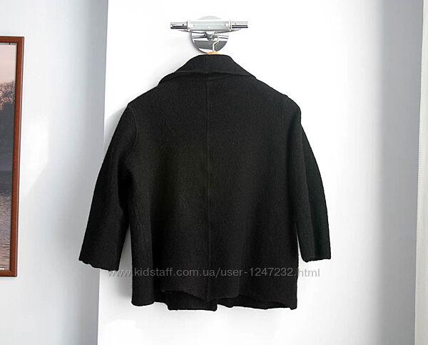 Жакет пальто черное р 54 56 из валеной шерсти шерстяное ОГ 140 теплое батал