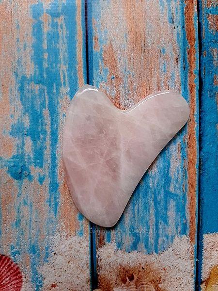 Скребок Гуаша сердце капля, розовый кварц