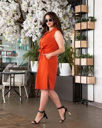 Платье-Рубашка турецкий лён. 50 по 56