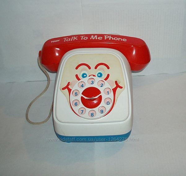 Винтаж телефон бренд Tomy Talk To Me с движущимися глазами и ртом 1990-е гг