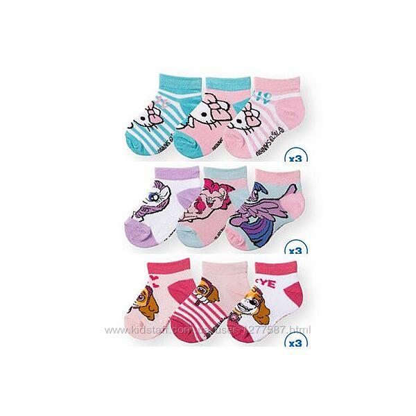 Хлопковые носочки для девочки р.19-22, 23-26, 27-30 набор 3 пары