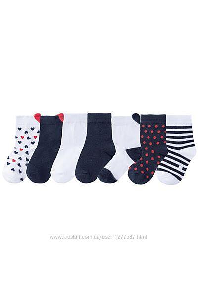 Набор 7 пар хлопковые носки для девочки р.19-22, 23-26, 27-30