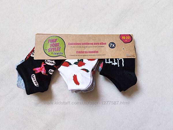 Короткие носки для девочки набор 7 пар рр.19-22, 23-26