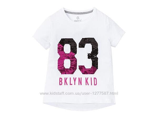 Белая футболка для девочки с риверсивными пайетками