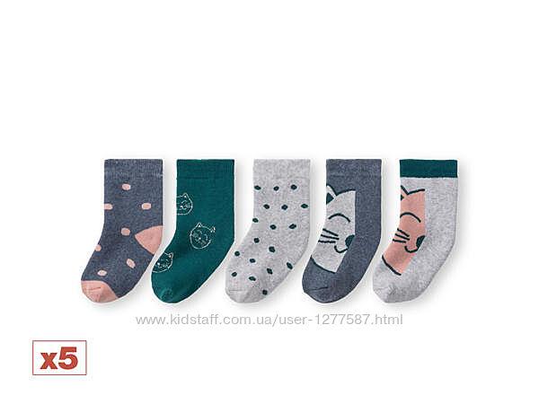 Махровые носки для девочки набор 5 пар. р.19-22, 27-30