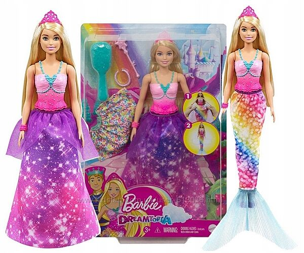Кукла Барби Дримтопия 2в1 Принцесса-русалка Barbie Dreamtopia Mattel